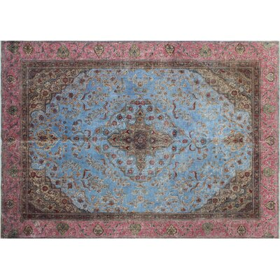 Karl Vintage Distressed Hand-Knotted Blue Area Rug