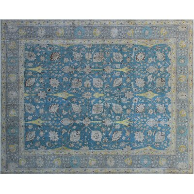 Annable Vintage Distressed Hand-Knotted Blue Area Rug