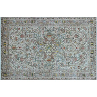 April Overdyed Distressed Hand-Knotted Beige Area Rug