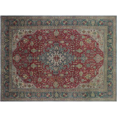 One-of-a-Kind Karmen Overdyed Vintage Hand-Knotted Red Area Rug