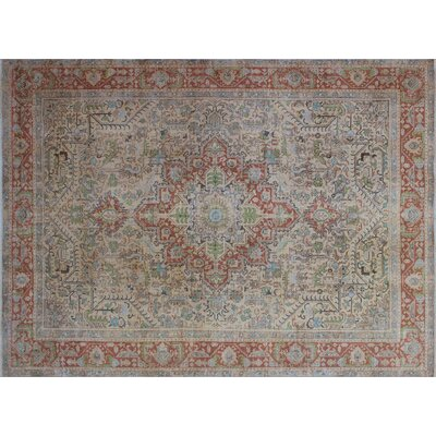 One-of-a-Kind Katja Overdyed Distressed Hand-Knotted Beige Area Rug