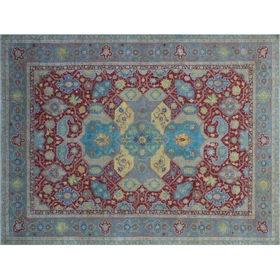 Lake Vintage Distressed Hand-Knotted Red Area Rug