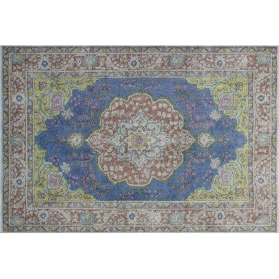 Antioch Hand-Knotted Blue Area Rug