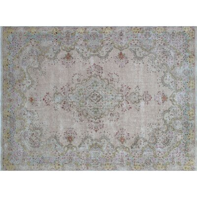 Hillary Vintage Distressed Hand-Knotted Beige Area Rug