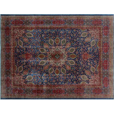 Aerin Vintage Distressed Hand-Knotted Blue Area Rug