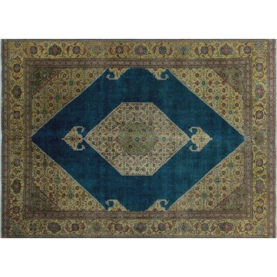 One-of-a-Kind Alexi Overdyed Distressed Hand-Knotted Blue Area Rug
