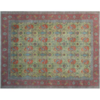 One-of-a-Kind Avian Overdyed Distressed Hand-Knotted Gold Area Rug