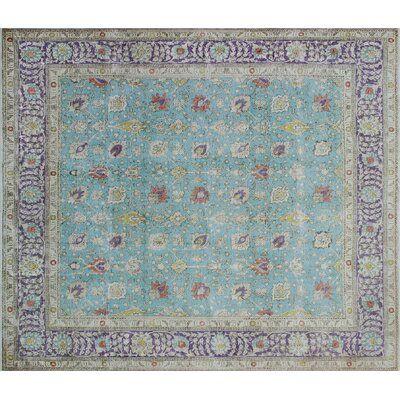Lavonne Vintage Distressed Hand-Knotted Lite Blue Area Rug