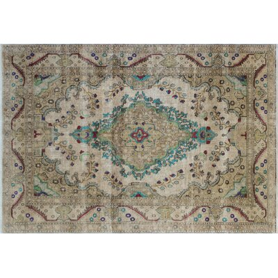 One-of-a-Kind Aymeline Vintage Distressed Hand-Knotted Beige Area Rug