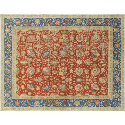 Elvia Overdyed Distressed Hand-Knotted Rust Area Rug