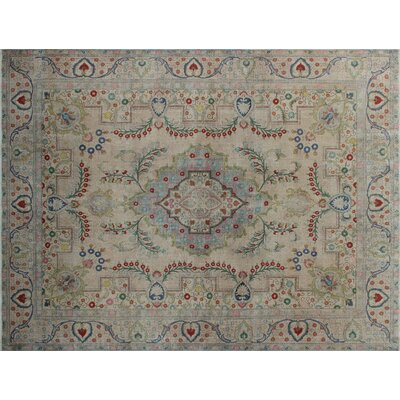 Sharlene Vintage Distressed Hand-Knotted Beige Area Rug