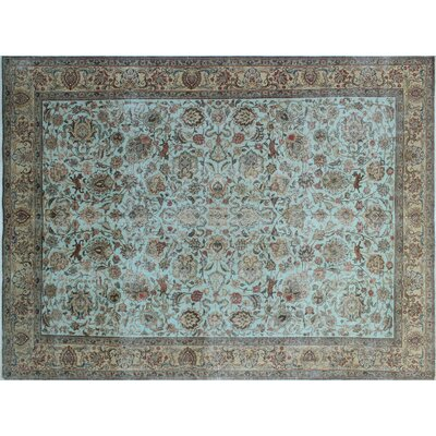 One-of-a-Kind Carine Hand-Knotted Light Blue Area Rug
