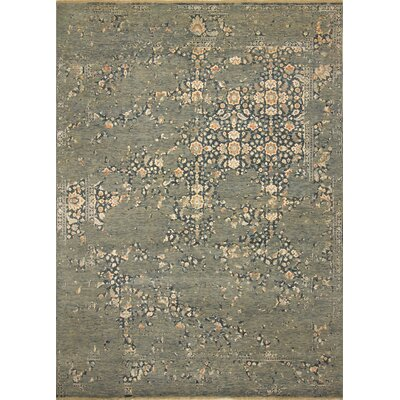 One-of-a-Kind Dravis Hand Knotted Wool Green/Blue Area Rug
