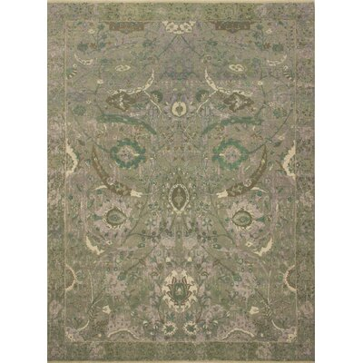 Dravis Oriental Hand Knotted Wool Green Area Rug