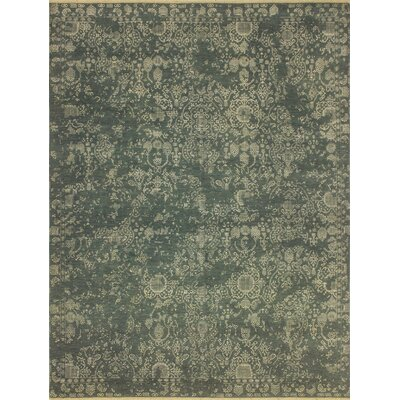 One-of-a-Kind Dravis Hand Knotted Wool Green Area Rug