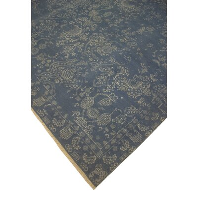 Dravis Hand Knotted Oriental Wool Blue/Ivory Area Rug