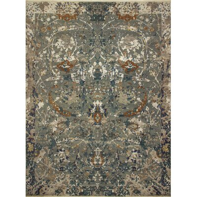 Dravis Hand-Knotted Rectangle Wool Blue Area Rug