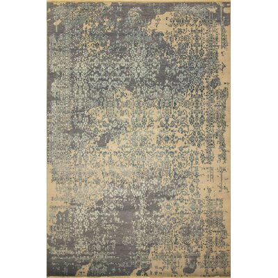 One-of-a-Kind Dravis Hand Knotted Wool Gray/Beige Area Rug