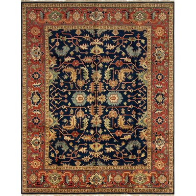 Saffron Hand Knotted Wool Blue/Brown Area Rug