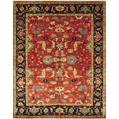 Fontanne Hand Knotted Wool Red Area Rug