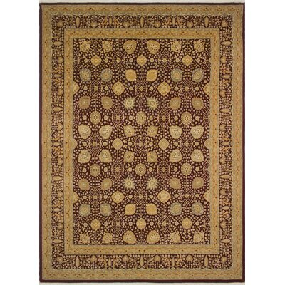 Roberta Turkish Hand Knotted Wool Dark Red Area Rug Rug Size: Rectangle 83 x 114