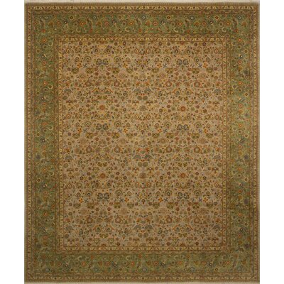 Salina Turkish Hand Knotted Wool Green/Beige Area Rug