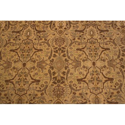 Roslyn Turkish Hand Knotted Wool Light Tan Area Rug