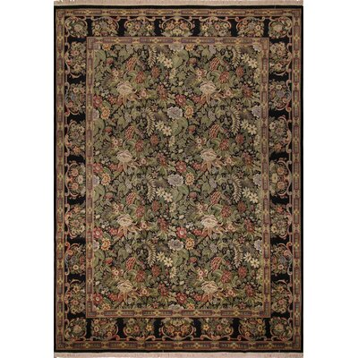 One-of-a-Kind Silvia Hand Knotted Wool Black/Green Area Rug
