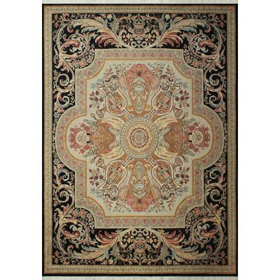 Robertsville Hand Knotted Wool Light Tan/Black Area Rug