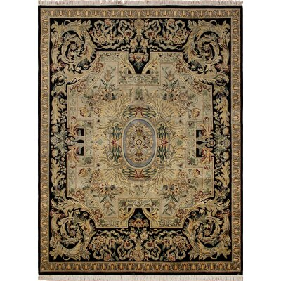 Riverside Hand Knotted Wool Light Gray/Black Area Rug