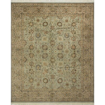 Roquemore Hand Knotted Wool Green/Beige Area Rug