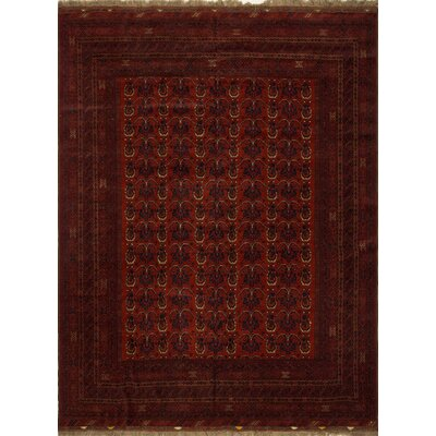 Fontane Hand Knotted Wool Red Area Rug