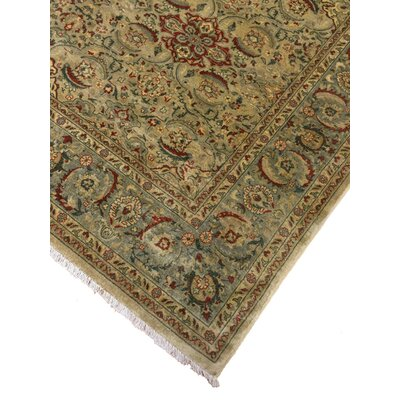 Ruhlman Turkish Hand Knotted Wool Beige/Green Area Rug