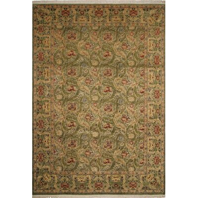 One-of-a-Kind Rivertown Hand Knotted Wool Light Green Area Rug