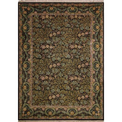 Sheryl Hand Knotted Wool Green/Brown Area Rug