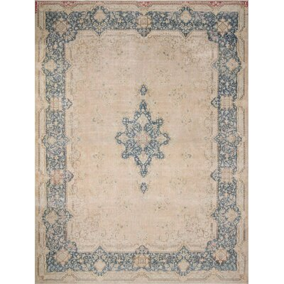 One-of-a-Kind Freeman Distressed Hand-Knotted Wool Beige Area Rug