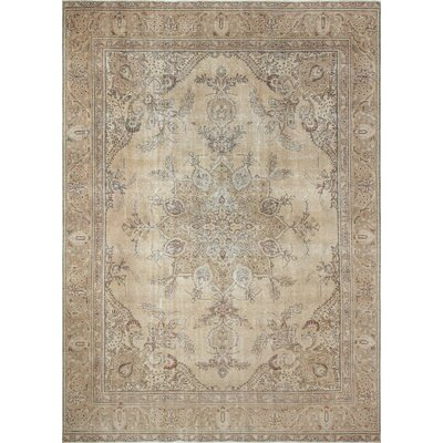 One-of-a-Kind Freman Distressed Hand-Knotted Wool Gold Area Rug