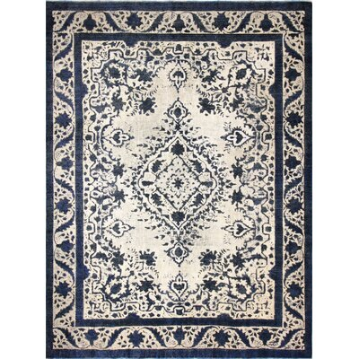 Friedman Distressed Hand-Knotted Wool Black/Beige Area Rug