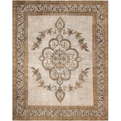 Fuller Distressed Hand-Knotted Wool Brown Area Rug
