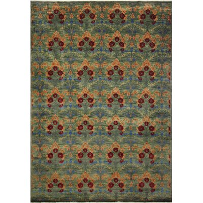 Harkness Hand-Knotted Wool Green Area Rug
