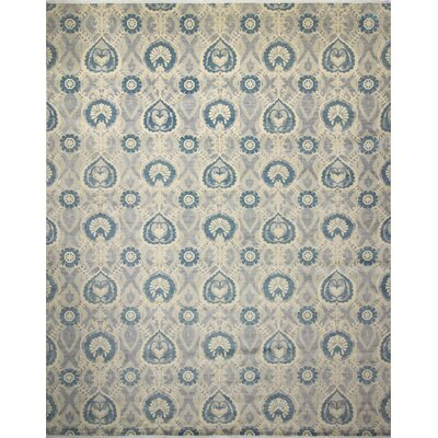 Harkness Hand-Knotted 100% Wool Gray/Blue Area Rug