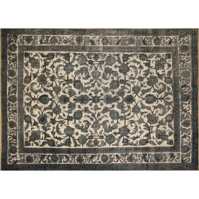 Chane Distressed Hand-Knotted Wool Black Area Rug