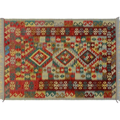Cortez Kilim Hand-Woven Wool Red/Green Area Rug