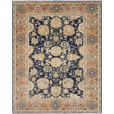 Leann Hand-Knotted Wool Blue/Brown Area Rug