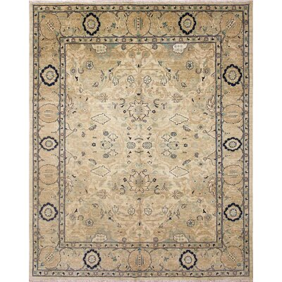 One-of-a-Kind Leann Hand Knotted Oriental Wool Green Area Rug