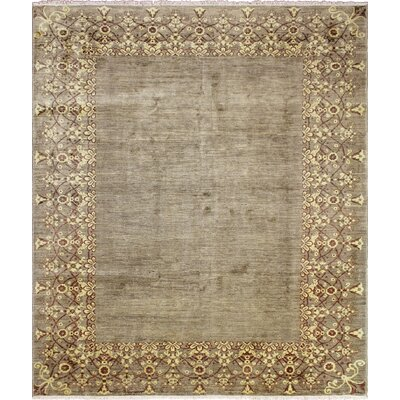 Leann Hand-Knotted Wool Green Area Rug
