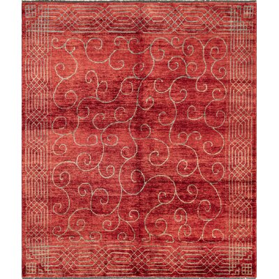 One-of-a-Kind Lauterbach Hand Knotted Rectangle Wool Red Area Rug