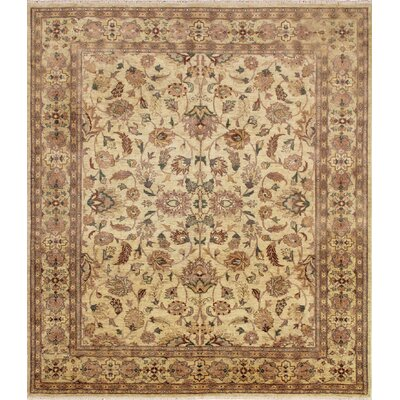 One-of-a-Kind Leann Hand-Knotted Premium Wool Ivory Area Rug