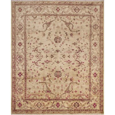 One-of-a-Kind Leann Hand Knotted Premium Wool Beige Area Rug