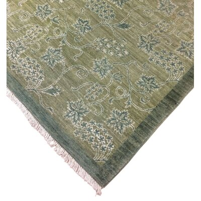 Lauterbach Hand-Knotted Rectangle Wool Green Area Rug